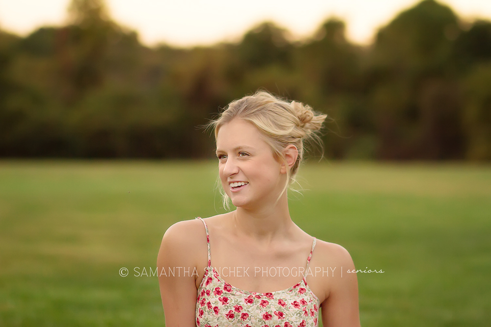 portrait of high school senior girl laughing at sharon woods in cincinnati ohio