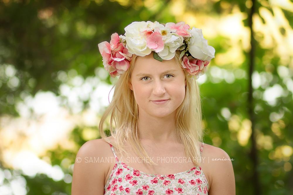 high school senior wearing floral crown at sharon woods in cincinnati ohio