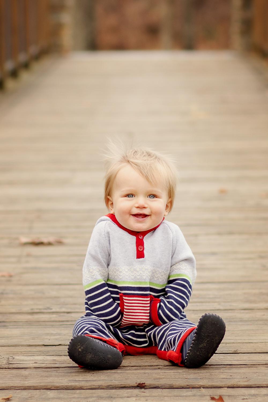 toddler boy laughs at Sharon Woods Park in Cincinnati Ohio