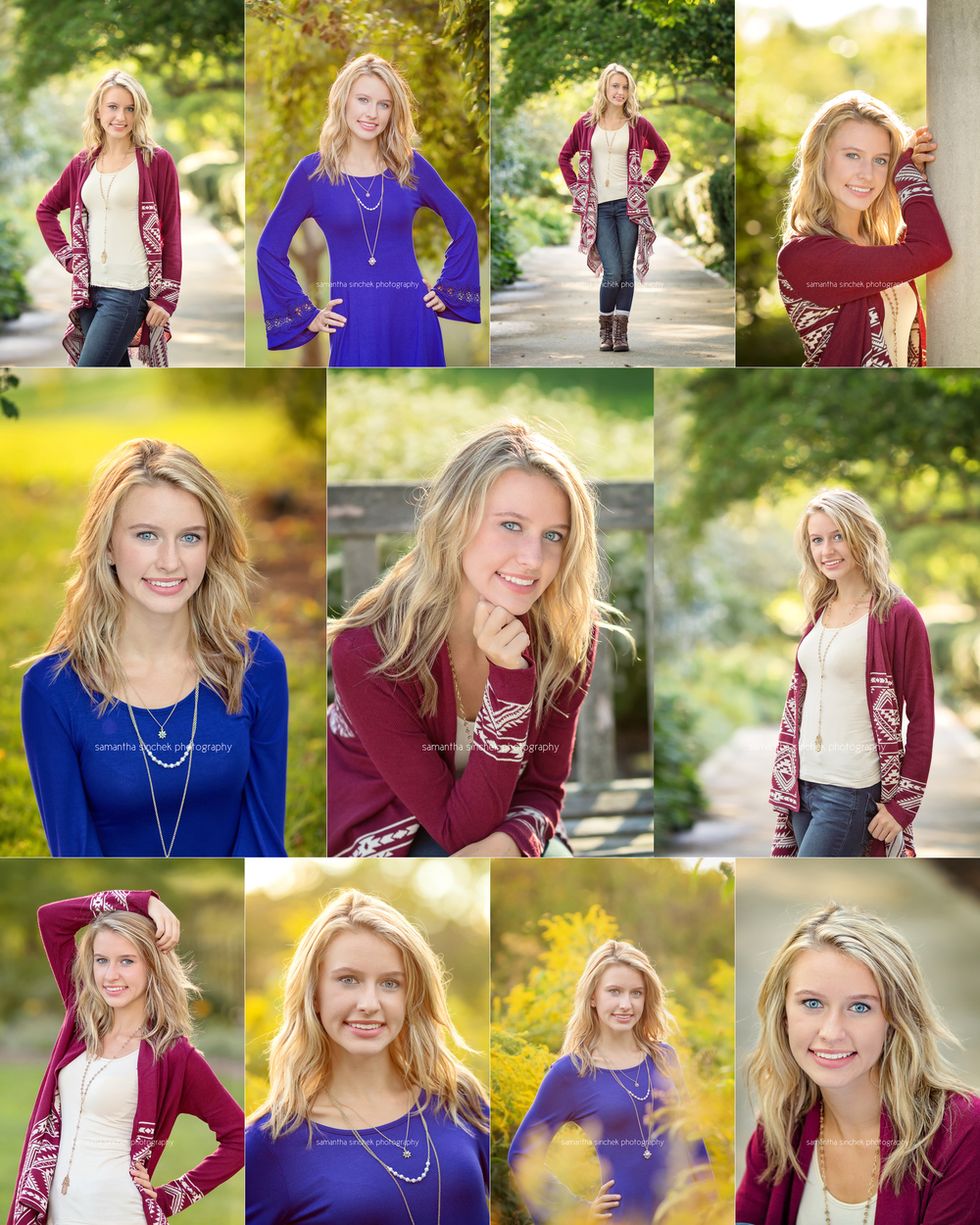 collection of images from Amandas senior pictures at Ault Park with Samantha Sinchek