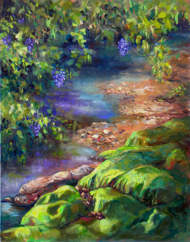 Mountain Stream, oil on panel, Fleta Monaghan