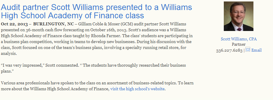 Audit partner Scott Williams presented to a Williams High School Academy of Finance class.png