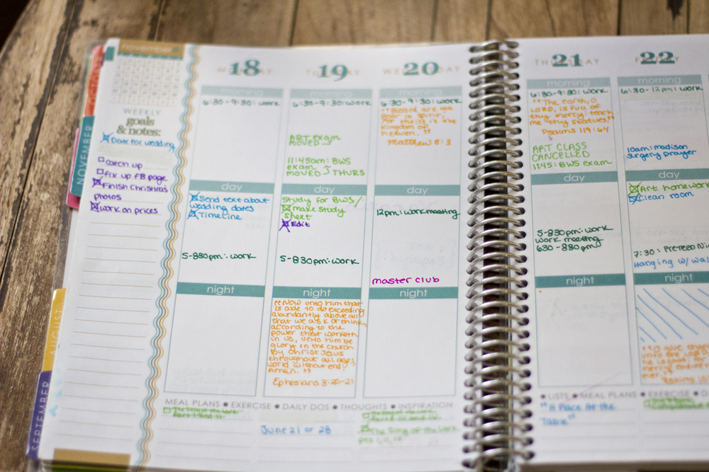 "The weekly page was great. My schedule honestly didn't merit having a ""morning day night"" section... but it did work for separating my work and business life. I started to use these sections as work, to-do for the day, and business as the year progressed. I would have liked these to be customizable for that reason, but it works for a lot of people."