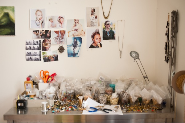 Beth's jewelry work room where she designs new pieces for her line Beth Lauren and capsule collections for retailers like Anthropologie.