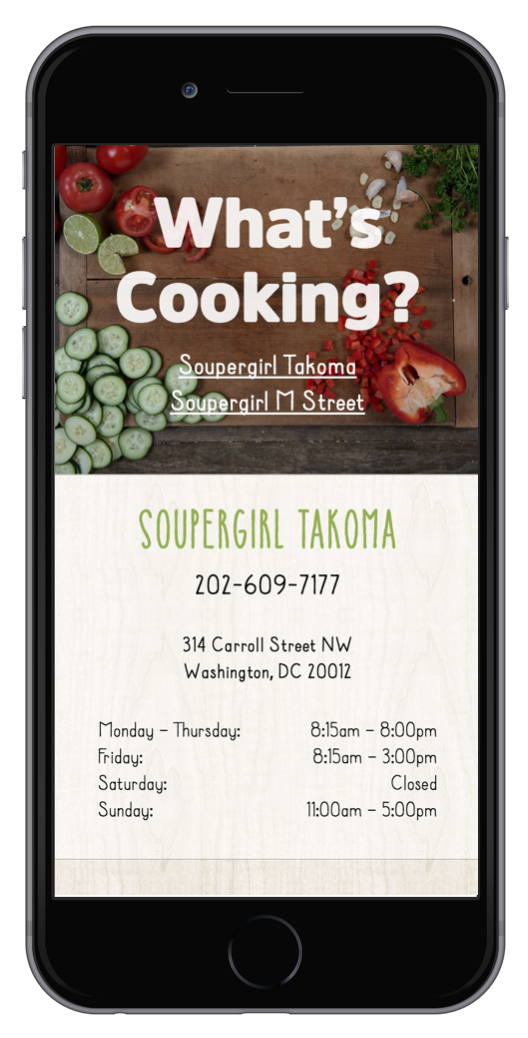soupergirl website design mobile