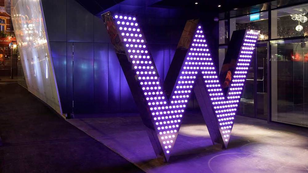 W hotels lobby lights logo