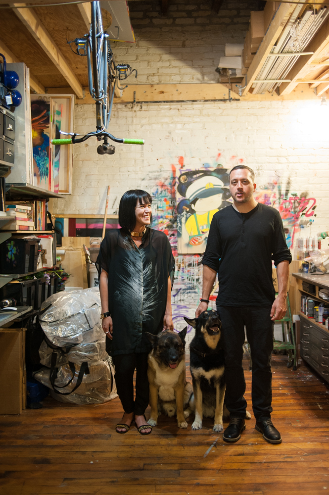 Virginia Arrisueño with her husband Kelly Towles in their home studio.