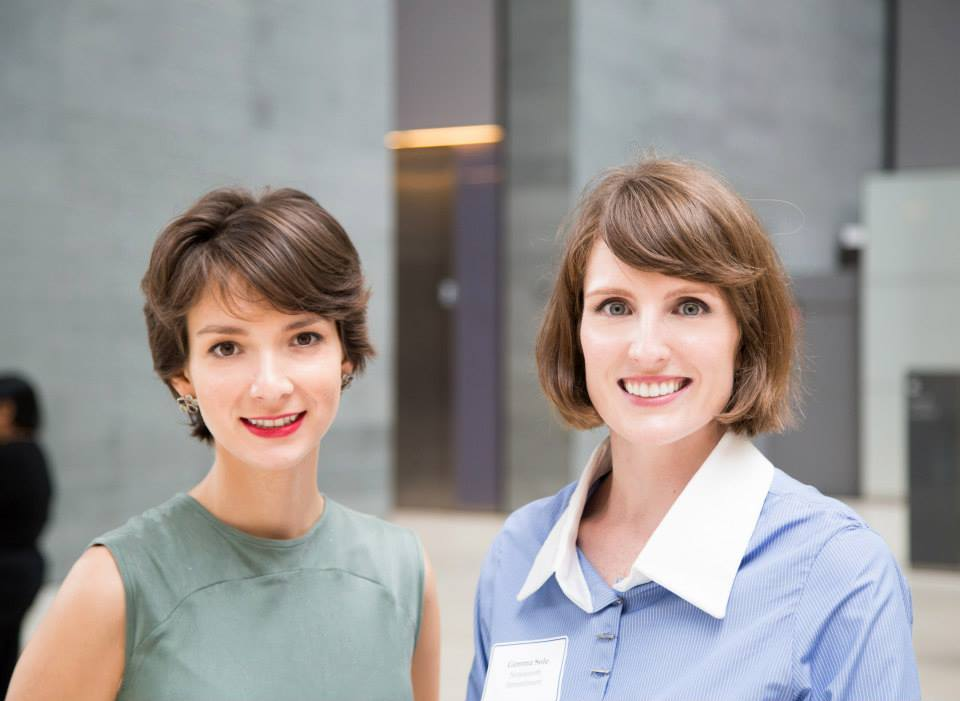 Nineteenth Amendment Co-founders Amanda Curtis and Gemma Sole at NY Fashion Tech Lab's Demo-Day. Photo By   Mark Thompson  .