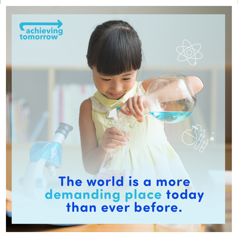 achieving tomorrow education social media content girl beaker science