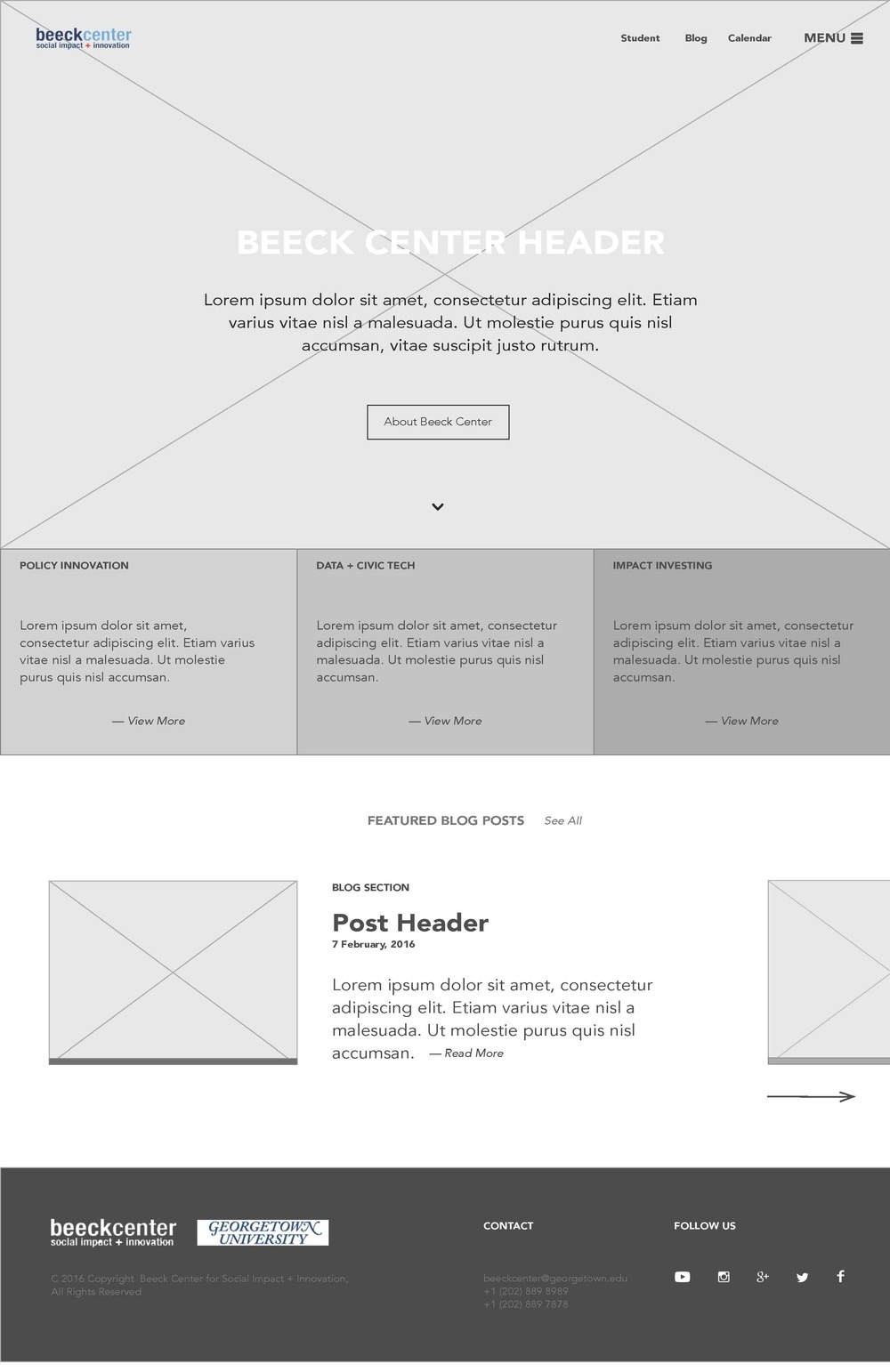 The Beeck Center website wireframes