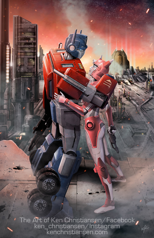 "I'll have a couple brand new prints at the show, Optimus and Elita-1 in ""Cybertron Good-Bye"", and sneak peek of the second, to be revealed at the show:"