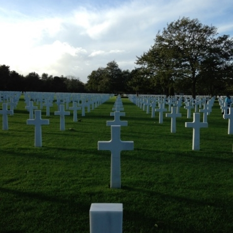 A view of some of the 9,387 graves in Normandy, France
