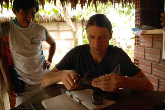 Gregor MacLennan fixing a broken GPS.
