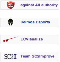The four teams who qualified to the First Division, against All authority, Deimos Esports, ECVisualize and Team SC2Improve.