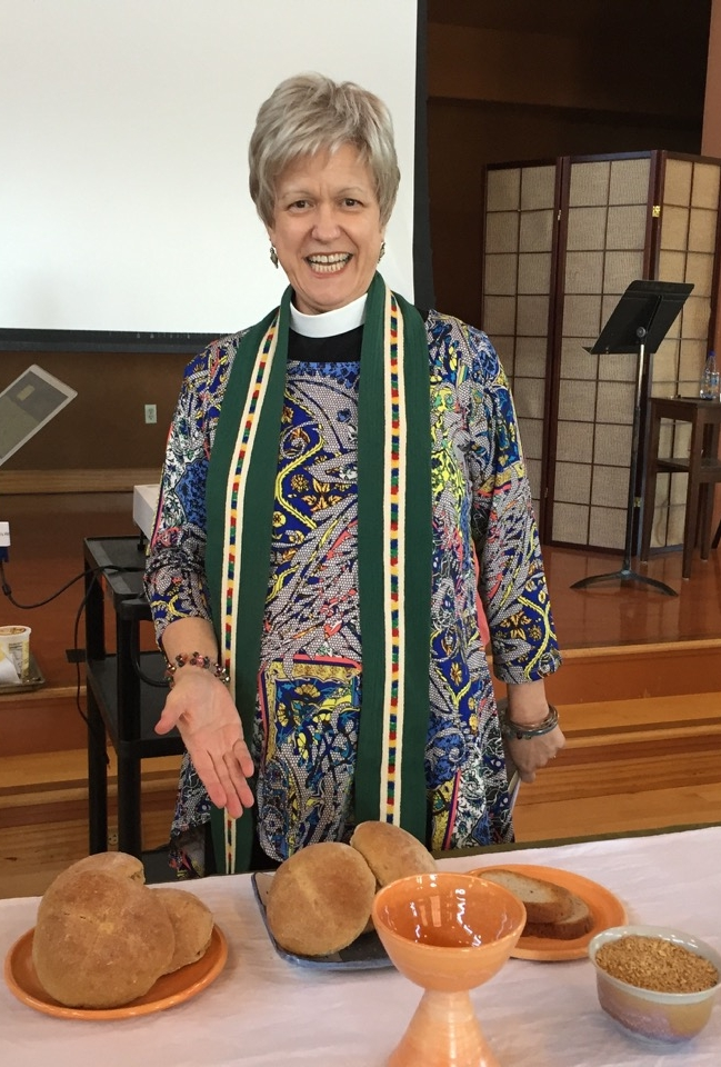 the beloved reverend stefani schatz celebrating eucharist at the diocese of california clergy conference, 2016