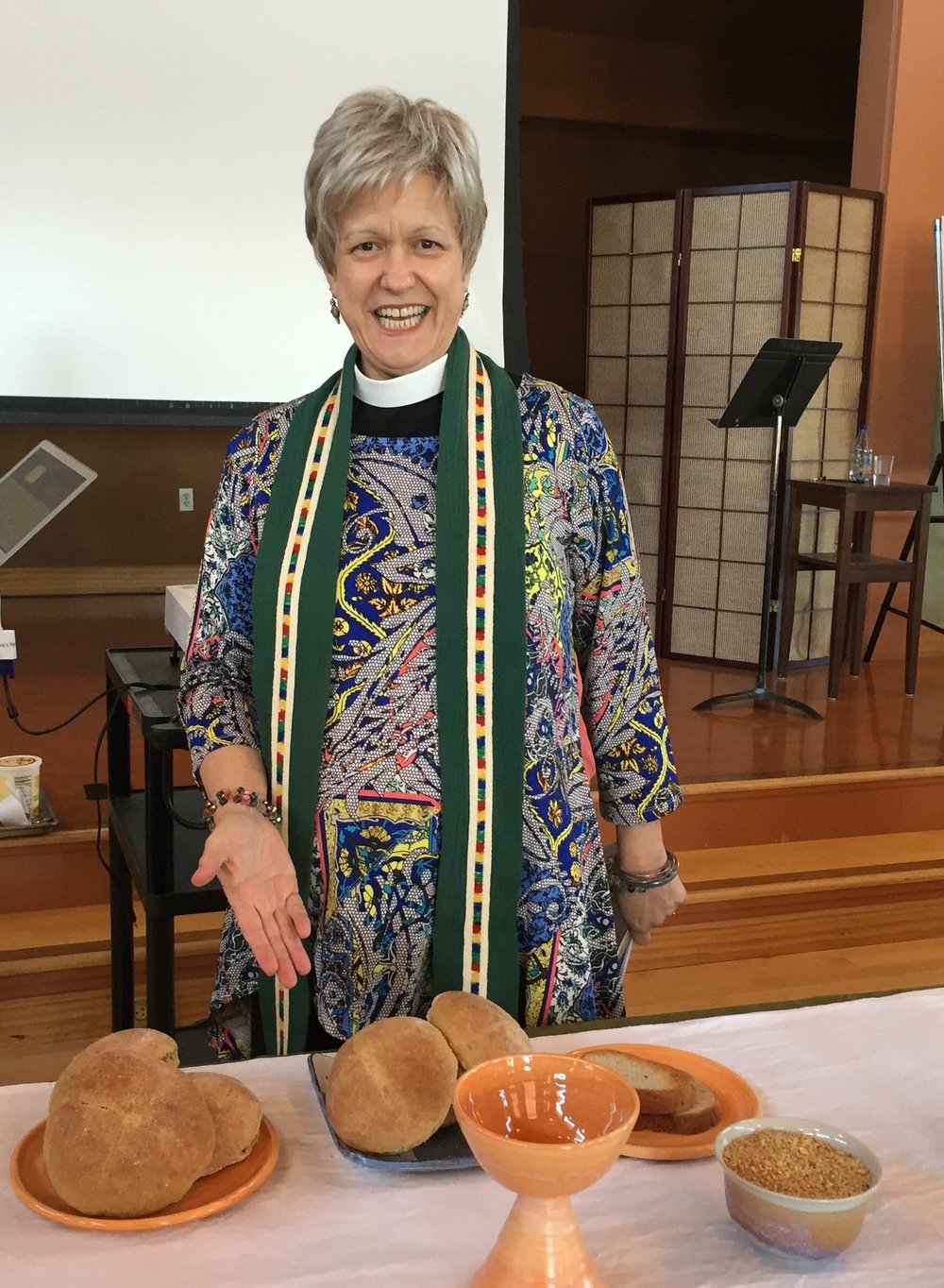 the beloved reverend stefani schatz+ celebrating eucharist at the diocese of california clergy conference, 2016