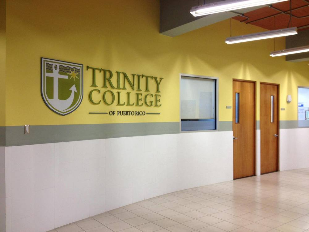 Trinity College of Puerto Rico signage.