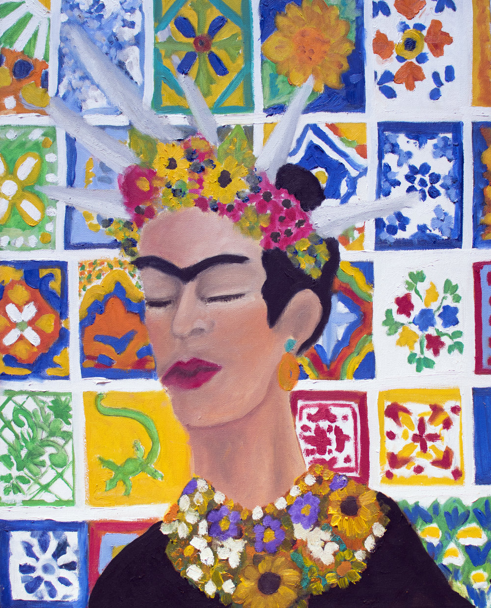 "FRIDA KAHLO    16X20 oil on canvas   ""The most important thing for everyone in Gringolandia is to have ambition and become 'somebody,' "" - Frida Kahlo"