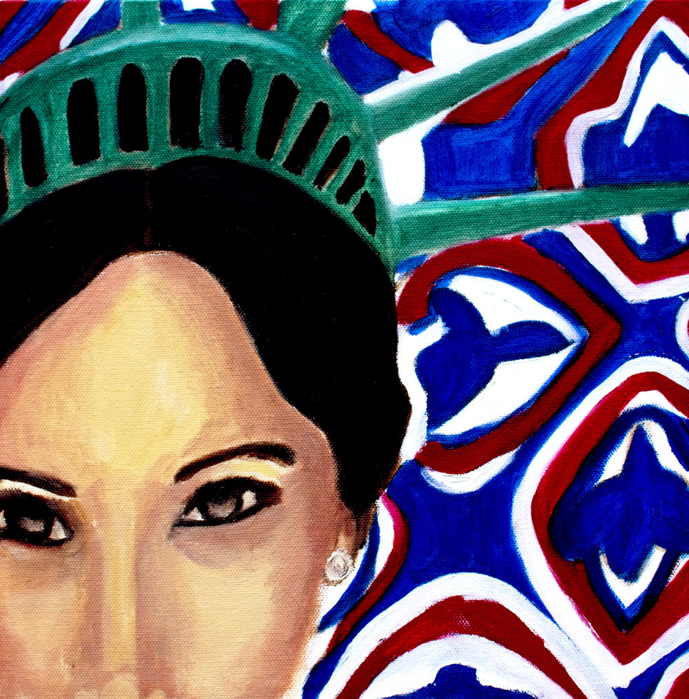"BRITISH AMERICAN    12X12 oil on canvas   ""My dad is Caucasian and my mom is African American. I'm half black and half white. Being biracial paints a blurred line that is equal parts staggering and illuminating.""-Meghan Markle."