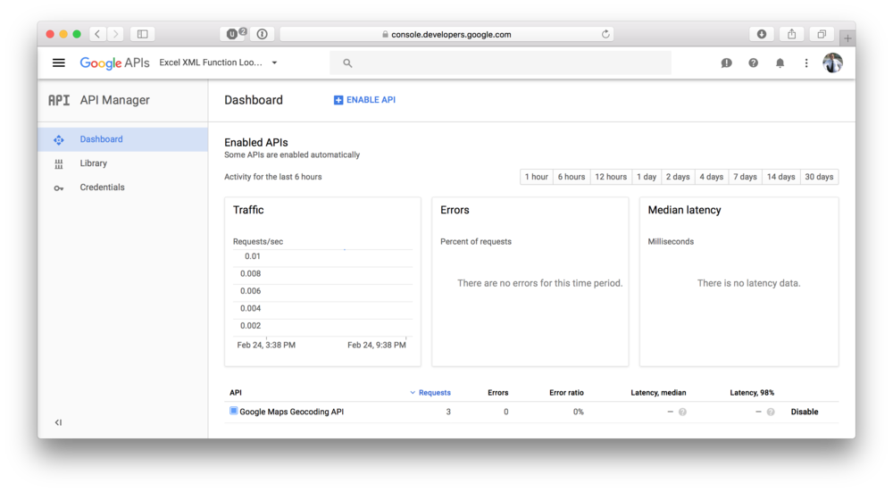 Example view of the API console manager. Here you can monitor the process.