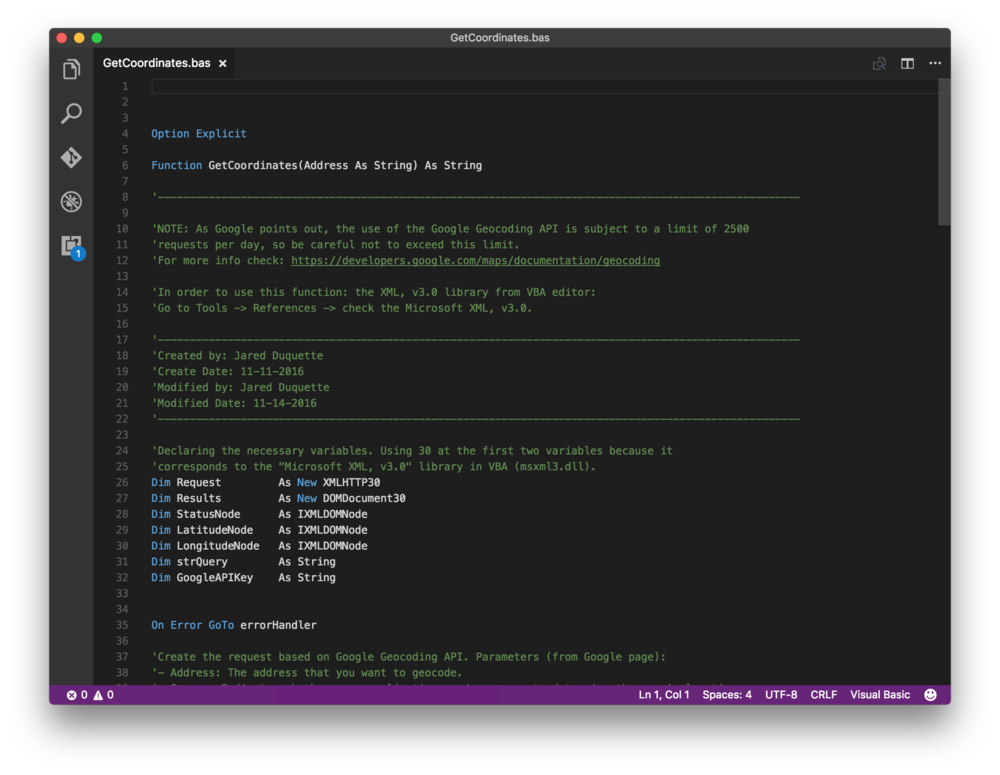 The VBA in Visual Studio Code.
