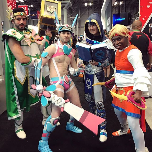 I love these guys so much. See hem every year and every year they turn it OUT. #sailorscouts #fantasy #mashup #sailormoon #sailorjupiter @xtian913 @fweecarter #sailormooncosplay #cosplay #costume #nyccomiccon #comiccon #nyccomiccon2017 #comiccon2017 #sylveon #sluttysylveon #shiny #shinysylveon #warrior #helm #pokemon #pokemoncosplay #videogames #silly #fun #epic