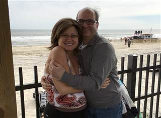 Liz Lehmann and husband Peter at the beach in Seaside Heights, New Jersey. Lehmann says ketamine pulled her out of a severe depression.     Family photo