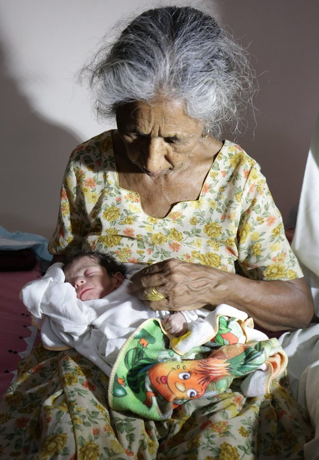 Daljinder Kaur: 'I am looking after the baby all by myself. I feel so full of energy.' Photograph: Raminder Pal Singh/EPA