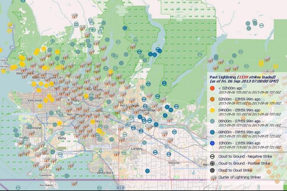 Image provided by Environment Canada, showing nearly 1200 lightning strikes throughout the Lower Mainland
