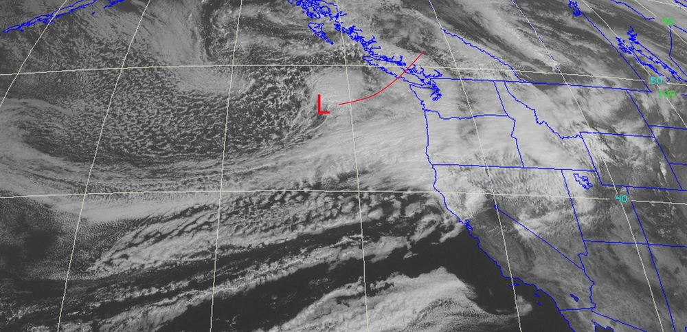 Current best projection of path of low pressure system. Satellite Imagery taken at 1130 PST.