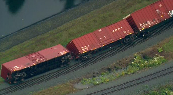 Damage in Frederickson, Washington. Rail cars are derailed by the powerful 180 km/hr winds