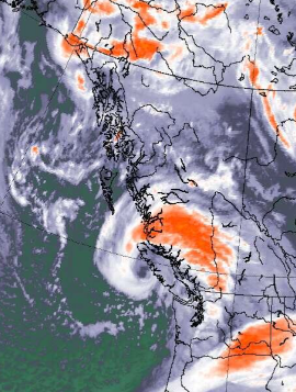 Low approaching peak intensity as it makes landfall on Vancouver Island