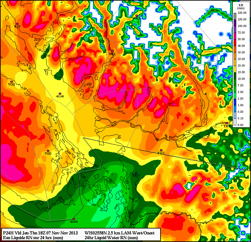 High Resolution (2.5km) Canadian LAM weather model 24hr rainfall