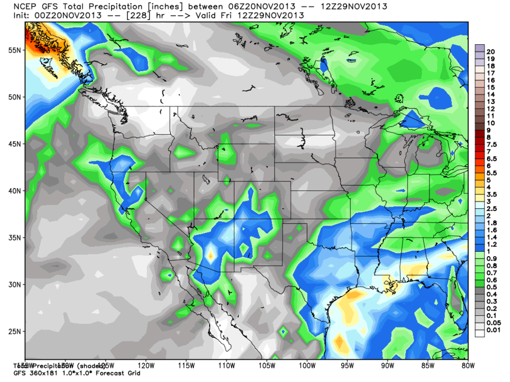 Latest deterministic GFS model run 00Z November 20th (graphic by WeatherBELL)