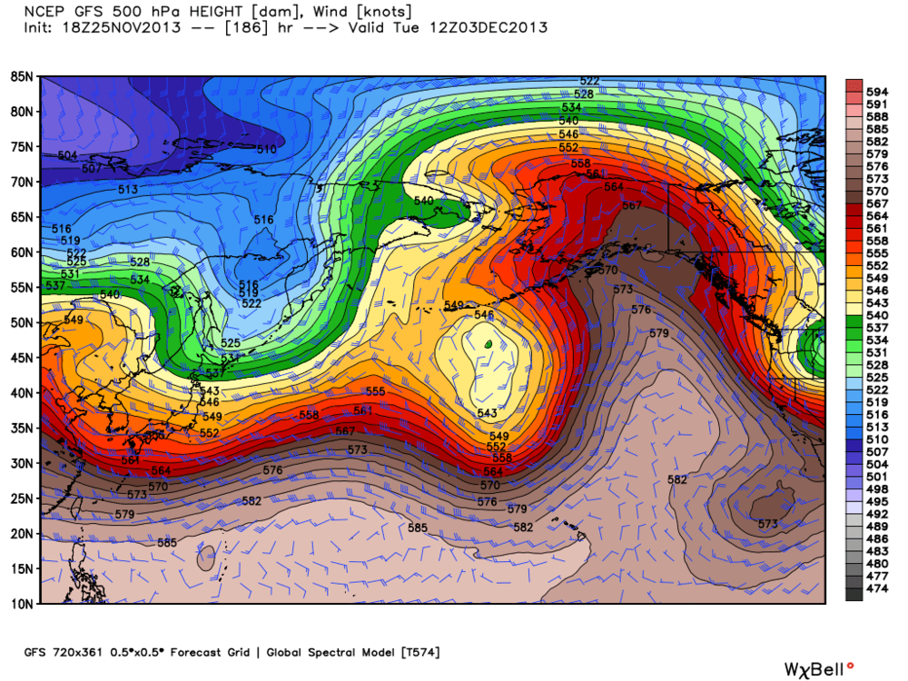 Play a game: spot the Ω in the 500 mb height map courtesy of WeatherBELL