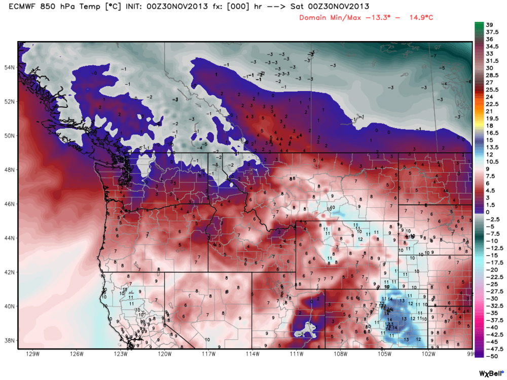 Current 850 hPa temperatures. Yeah a large part of BC's backcountry is still above freezing. You'll be shocked when you compare this photo to model projections further down the page. Some serious cold is coming to BC and Alberta.