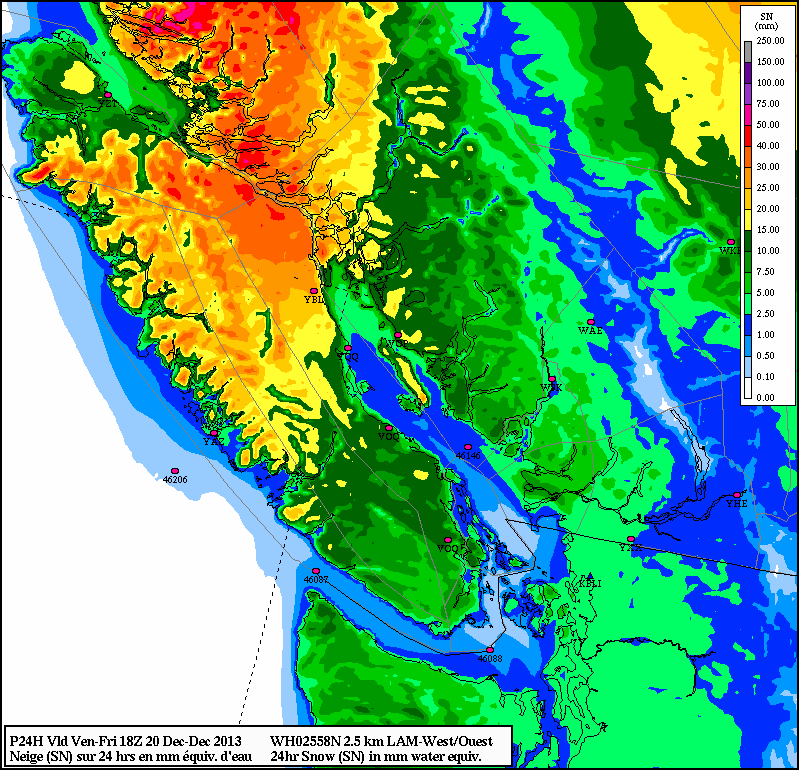 LAM-WEST high resolution Canadian weather model's predicted snowfall amounts