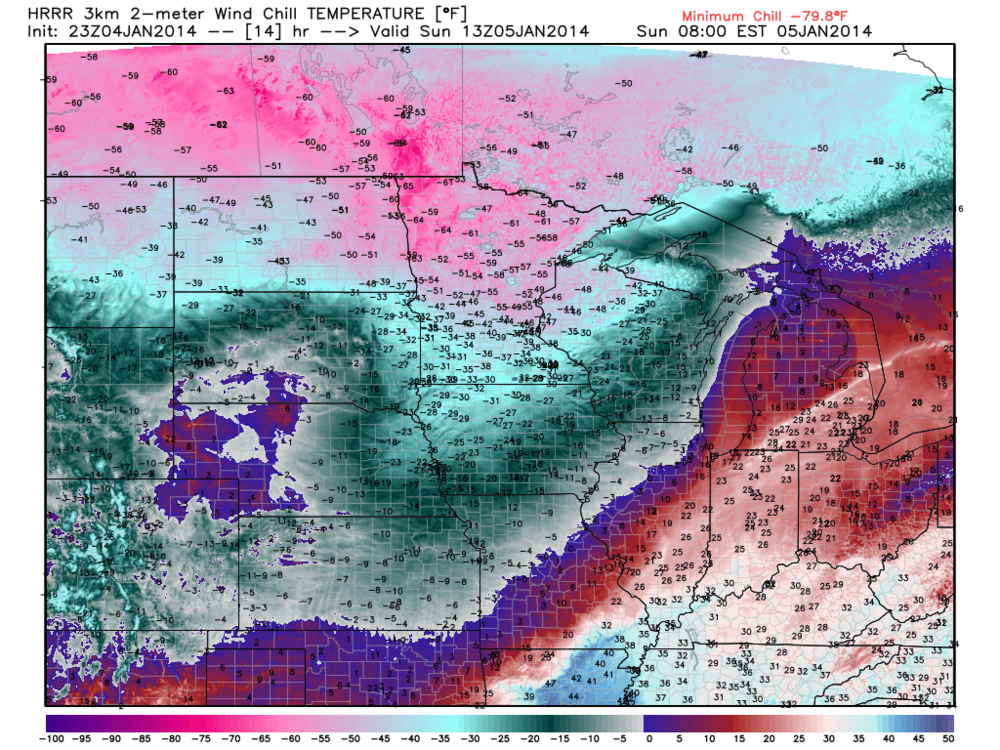 High Resolution Rapid Refresh model is a cutting edge model that runs hourly by NCEP. Note the widespread -50C wind chill in the southern Prairies