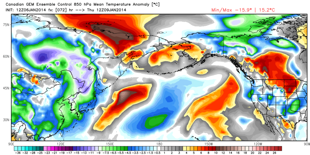 850 Canadian GEM Ensemble Control 850hPa Mean temperature anomaly