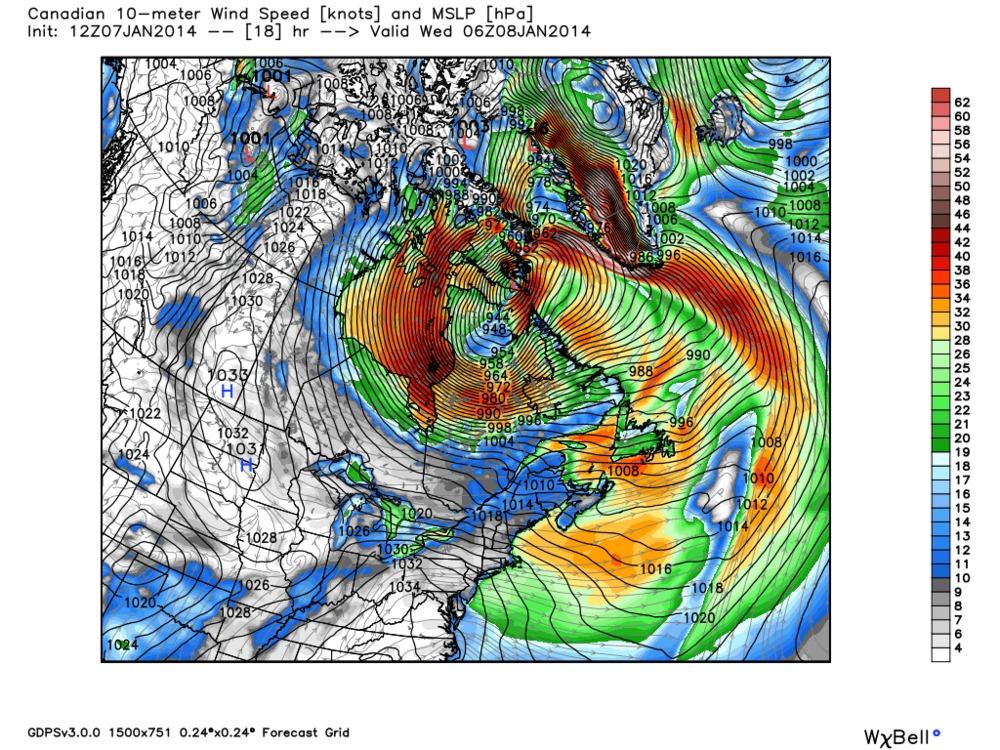 Current low pressure system over the Canadian Arctic, pressure forecasted to fall to sub 940 mb.