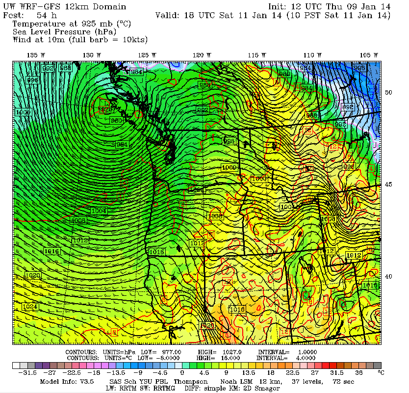 975 mb mature surface low pressure system over northern Vancouver Island. Textbook for damaging winds...