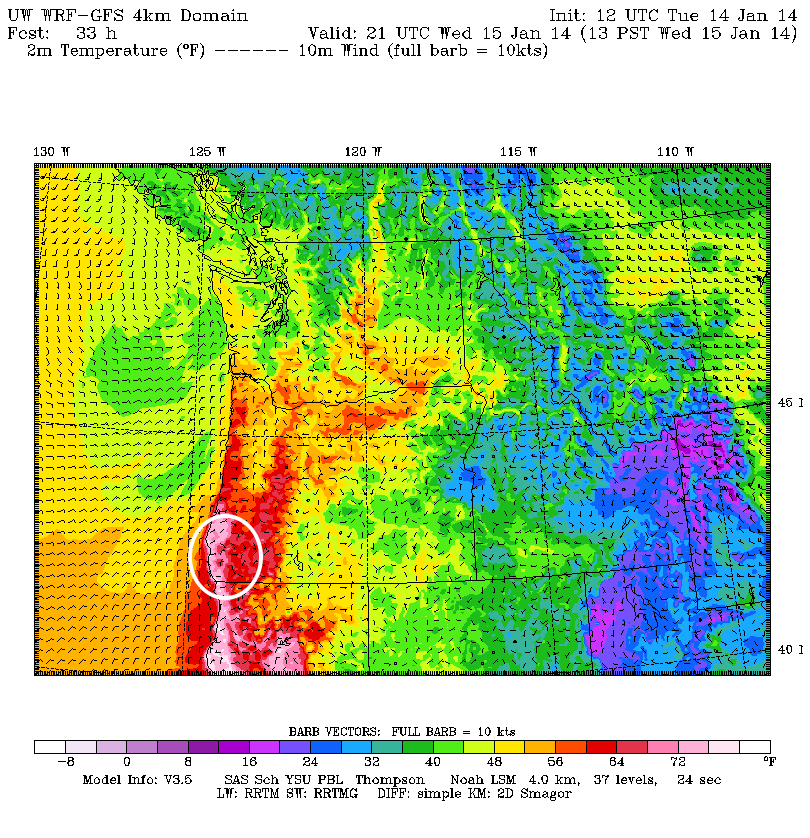 The white circle above shows the region in southern Oregon that will see significant warming tomorrow, with Brookings likely seeing the most extreme warming tomorrow, compliments of the Brooking effect.
