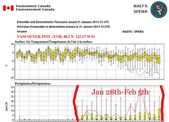 Current NAEFS suggesting a return to cool NW flow that's normally indicative of healthy mountain snow accumulation with lower than average freezing levels (20-30 cm in the mountains a good very ROUGH first guess for the week of Jan 28th-Feb 5th)