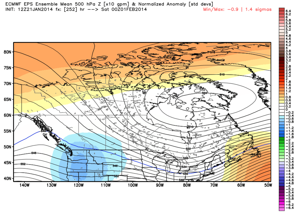 Blues indicate lower than normal 500 hpa heights...Excellent news for skiers and mountain snows
