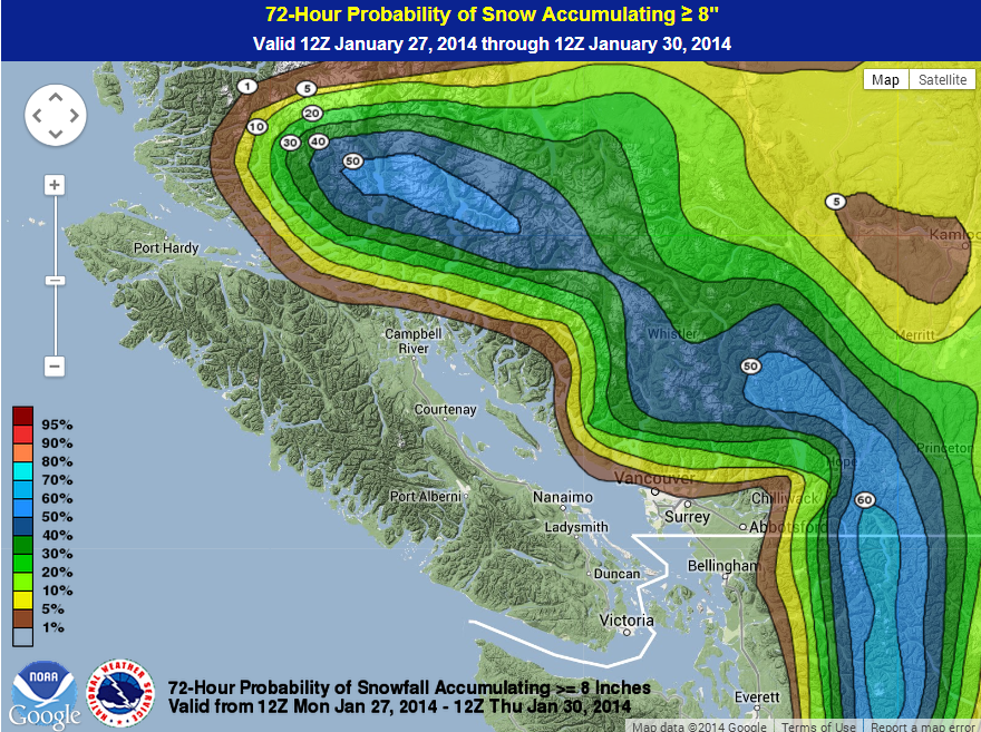 This map by the WPC shows the probability of significant snowfall the next 72 hours. Right now, about a 50% chance of Whistler mountain seeing a significant (20 cm+) dump.