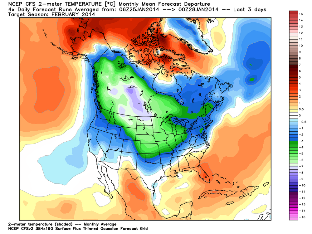 CFS 2 metre temperature anomaly prediction for February 2014 (Green = Cooler than normal) (red= Warmer than normal)