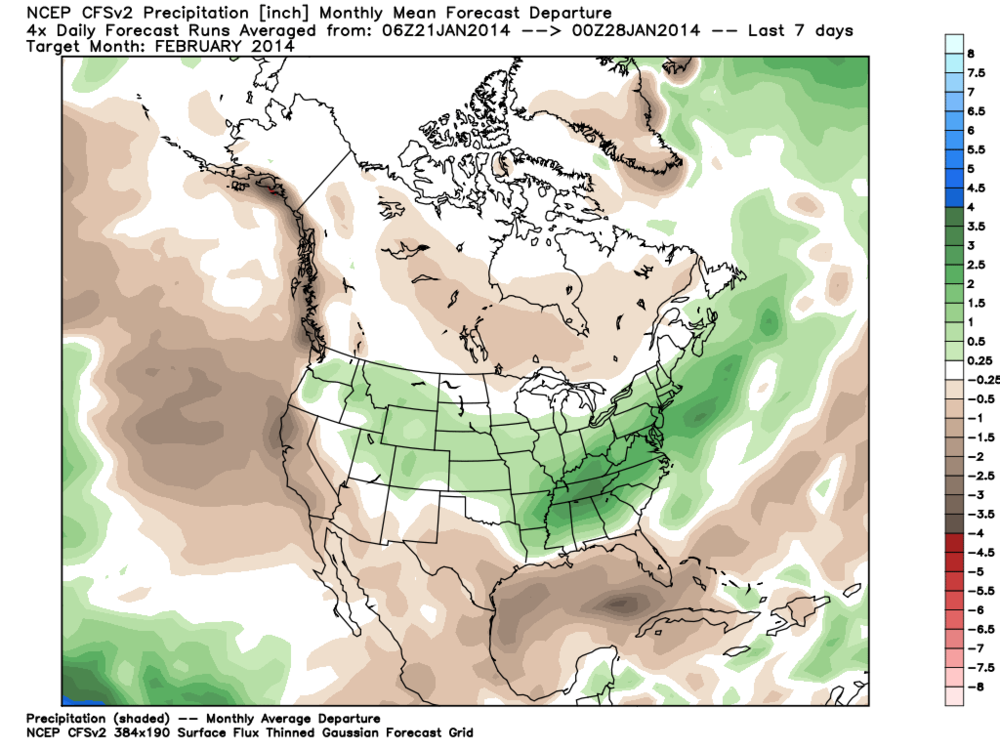 CFS precipitation anomaly prediction for February 2014 (Green = above) (Brown = Below)