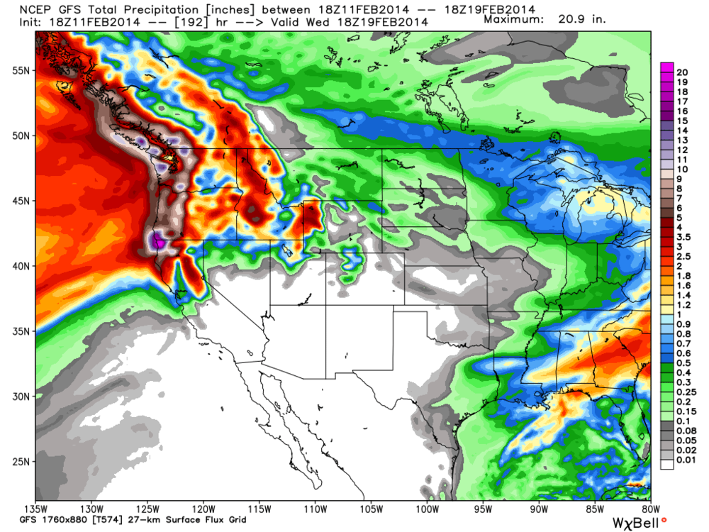 The 18Z GFS model showing total precipitation accumulation for the next week. Yeah 10 inches or 250 mm isn't out of the question for Tofino, and the North Shore Mountains, and yes, Mount Washington. Next weekend there looks to be a heightened risk of some minor flooding, but it's still too far out to determine specifics details