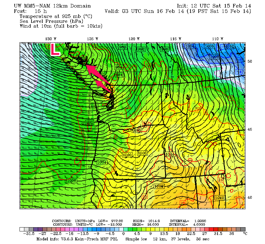UW MM5-NAM model shows a potent low (971 mb) off the tip of Vancouver Island this evening (7 p,m PST). Strong southereasterlies will pick up during the day ahead of the low and associated frontal system. With NAM forecasting a deeper low, it also models wind gusts in Georgia Strait at over 55 knots (or 100 km/hr)