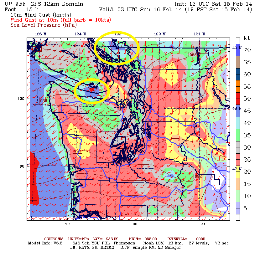 WRF-GFS map of maximum gusts this evening (in knots). Race Rocks, near Victoria could see gusts above 50 knots, as well as Tsawwassen Ferry Terminal